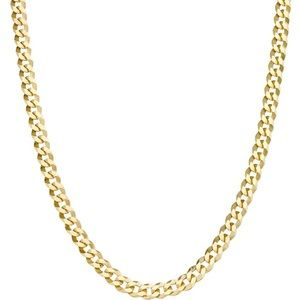Solid 18k Real Gold/925 Cuban/Curb Chain N…